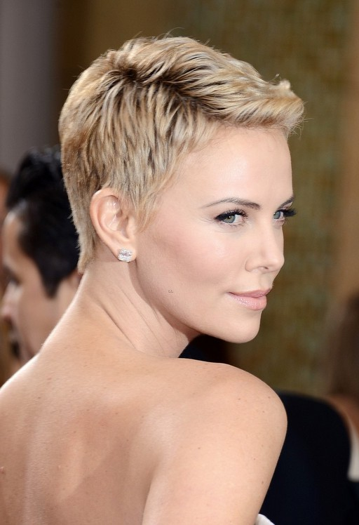 Charlize Theron buzz cut back side view