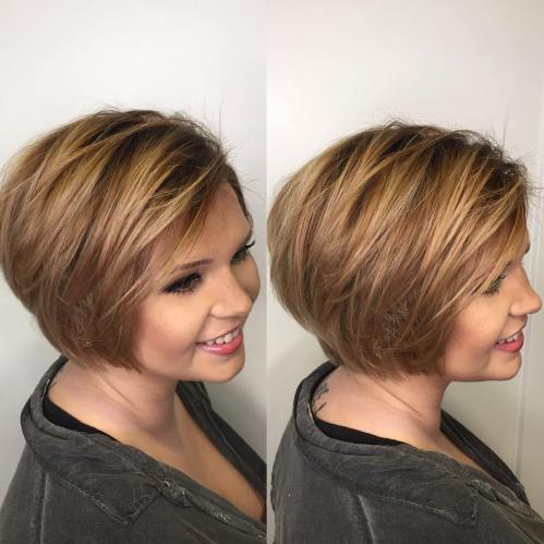Short Haircut for fat face front back view