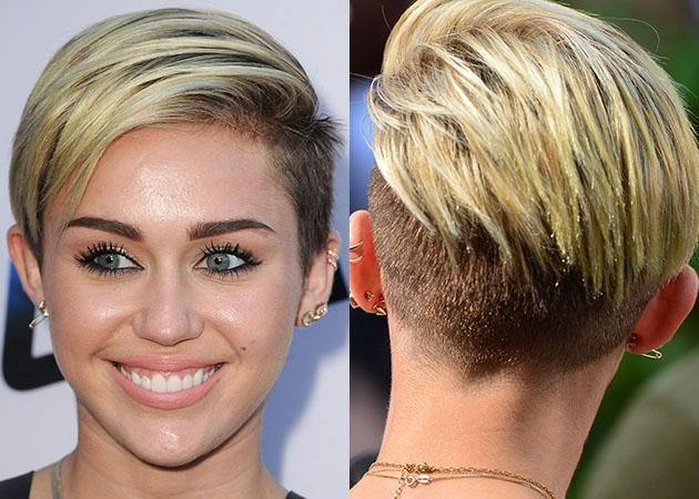 Miley Cyrus Short Hairstyles Pixie Back View Blonde Color