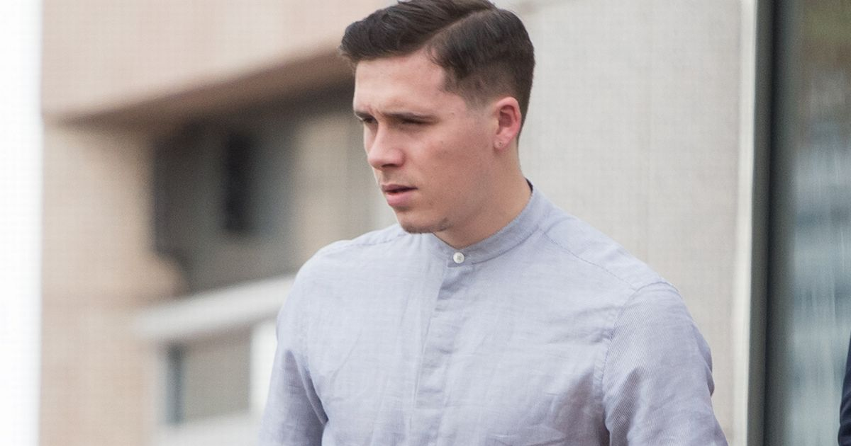 Brooklyn Beckham High Fade and Deep Side Swept Hairstyle