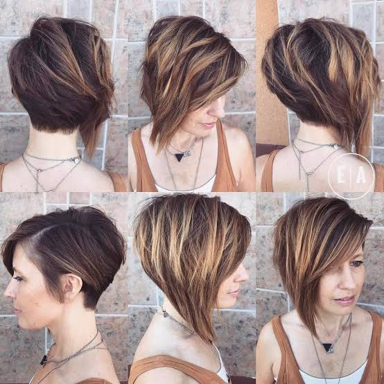 Female Athletes Short Bob with textured tips and Side Swept Bangs