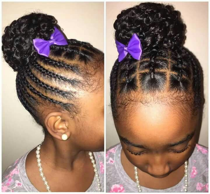 Christmas Black Toddlers Afro Braided Bun Hairstyles