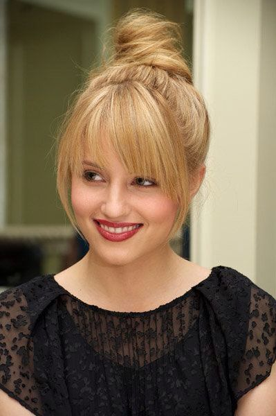 Top Knot with Bangs For Round Face