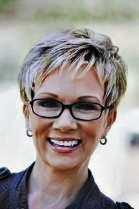Short Pixie Hair for Women Over 50 with Glasses