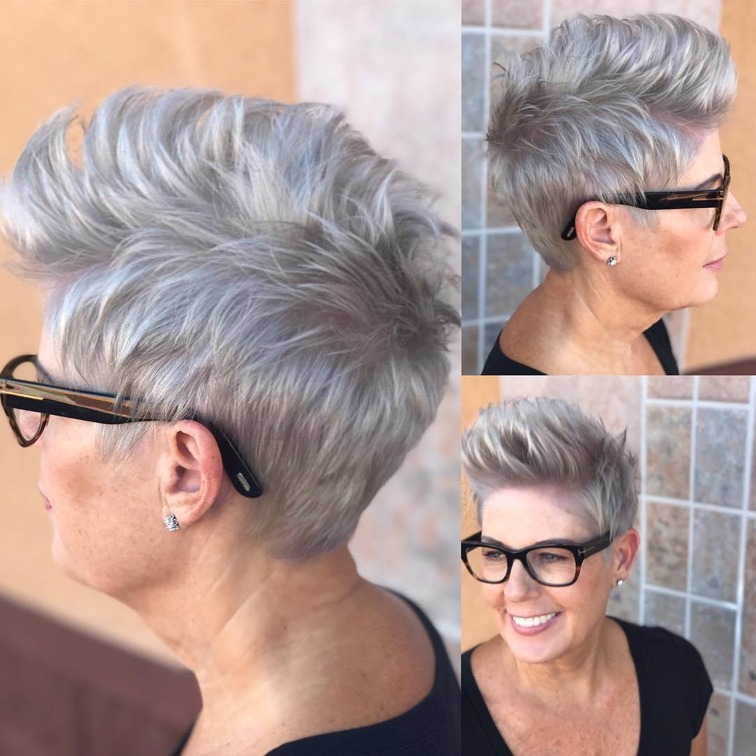 Short Spiky Hair for women Over 50 with Glasses