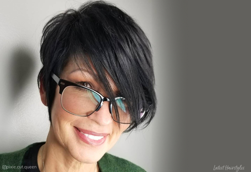 Side Swept Bangs for Women Over 50 with Glasses