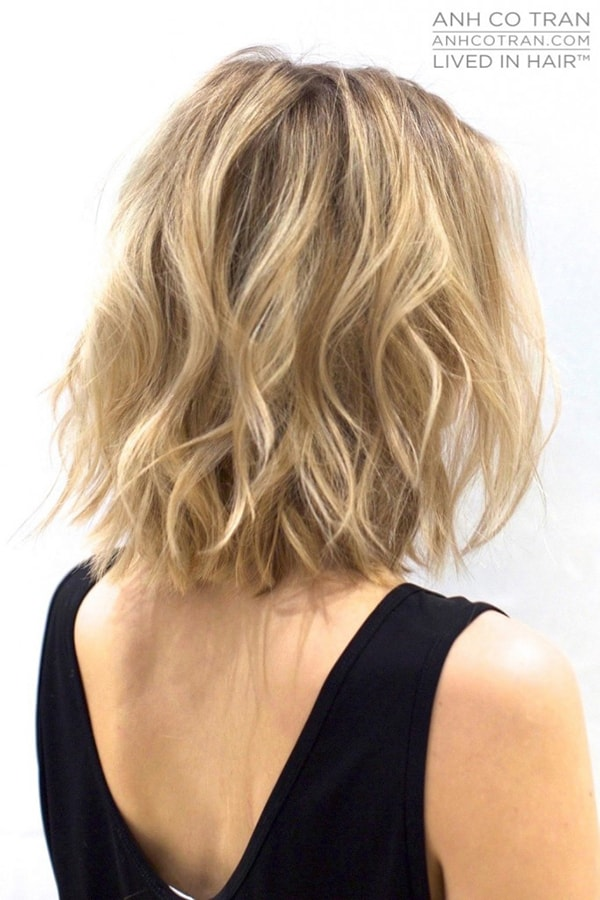Beach wavy hairstyle for short hair length